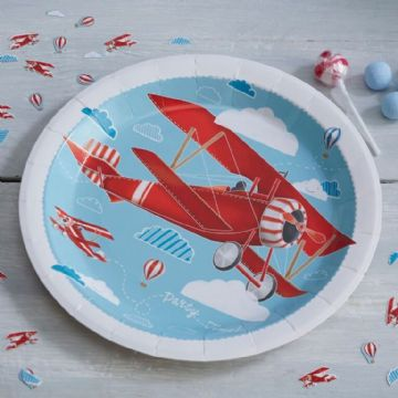 Vintage Red Planes Paper Plates - pack of 8